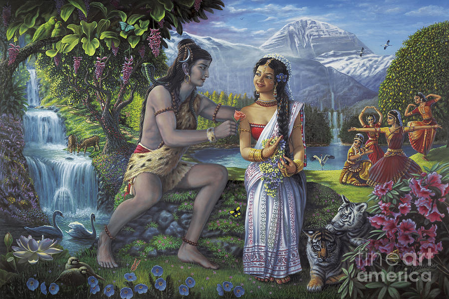 Shiva and Parvati by Vishnudas Art