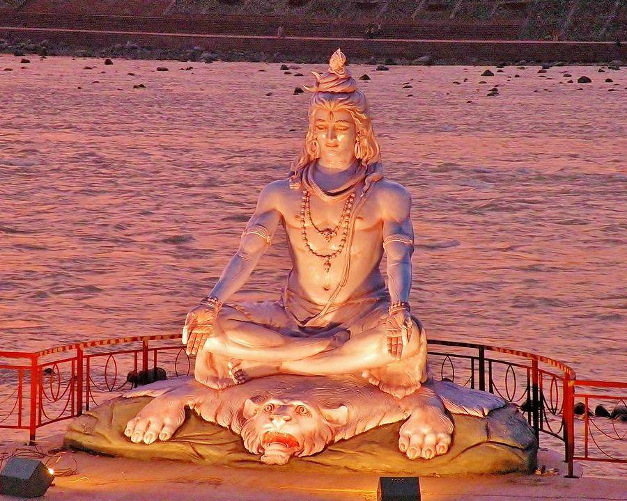 shiva statue at rishikesh india photograph by kim bemis