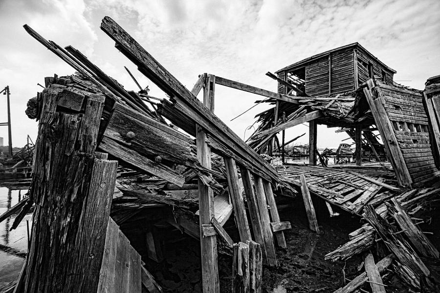Nautical Photograph - Shiver My Timbers - Ship Graveyard - Black And White by Gary Heller