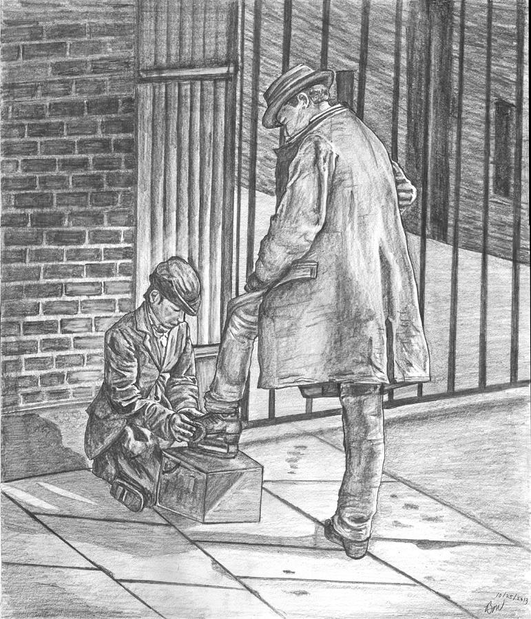 Man Painting - Shoe Shine by Beverly Marshall