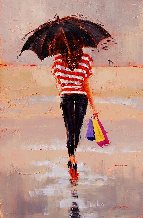 Beautiful Woman Painting - Shoe Shopping by Laura Lee Zanghetti