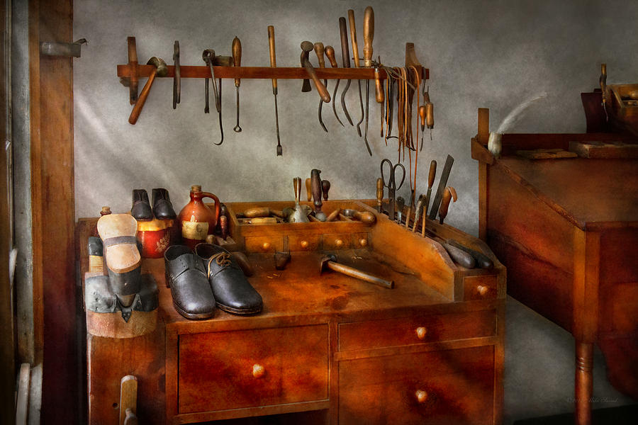 Self Photograph - Shoemaker - The Cobblers Shop by Mike Savad