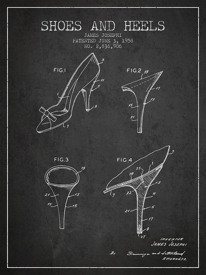 1c3be7faa0 Heels Digital Art - Shoes And Heels Patent From 1958 - Charcoal by Aged  Pixel