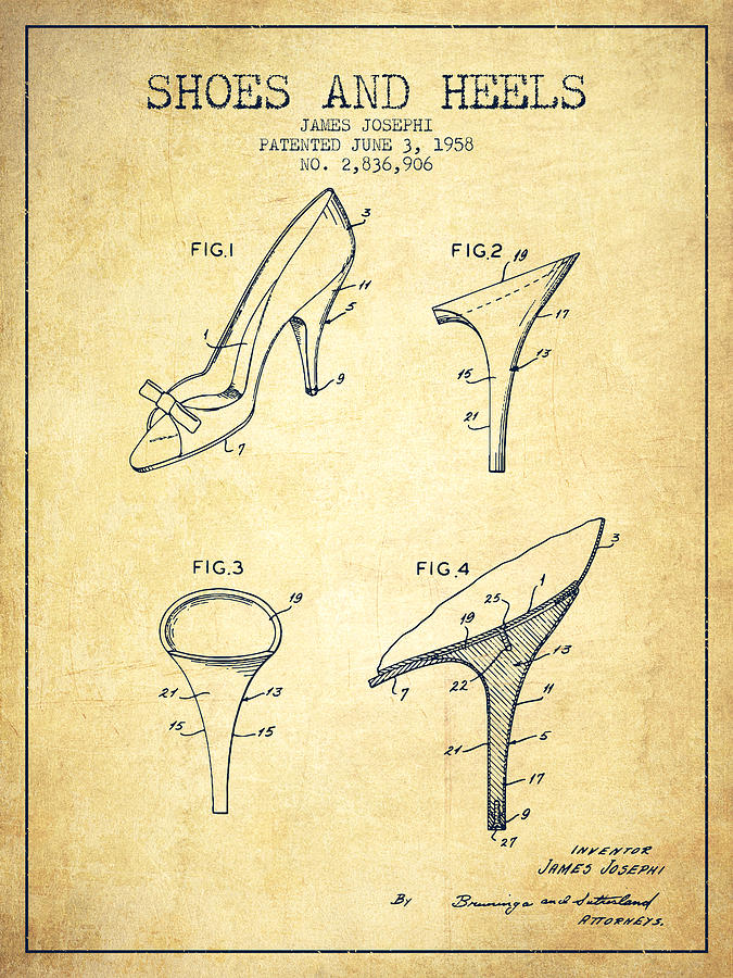3618798a02 Heels Digital Art - Shoes And Heels Patent From 1958 - Vintage by Aged Pixel