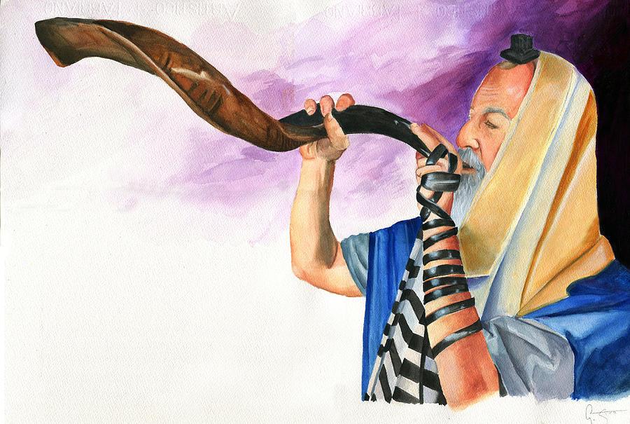 Rabbi Painting - Shofar II by Dawnstarstudios
