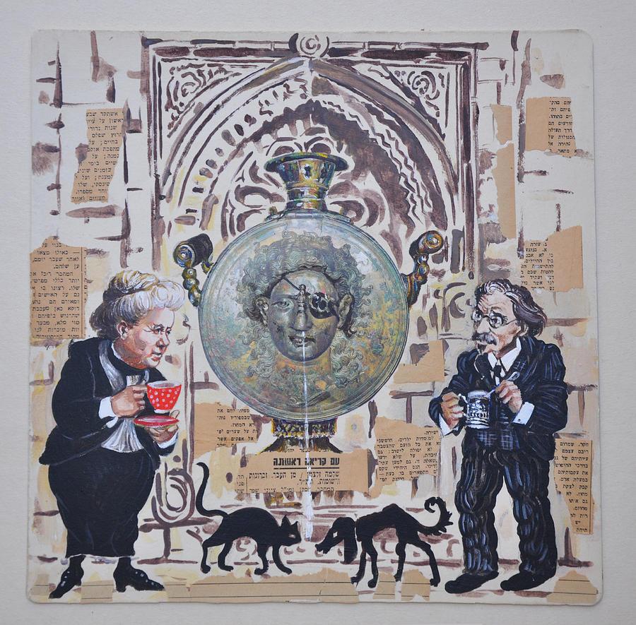 Jerusalem Painting - Sholem Aleichem And Selma Lagerlof In Jerusalem by Nekoda  Singer