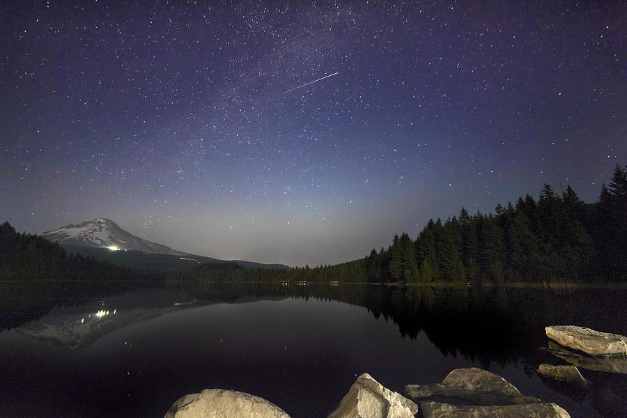 Trillium Lake Photograph - Shooting Star At Trillium Lake by David Gn