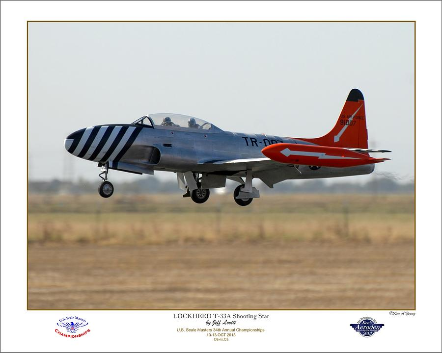 T-33 Jet Trainer Photograph - Shooting Star Crossing The Fence by Ken Young