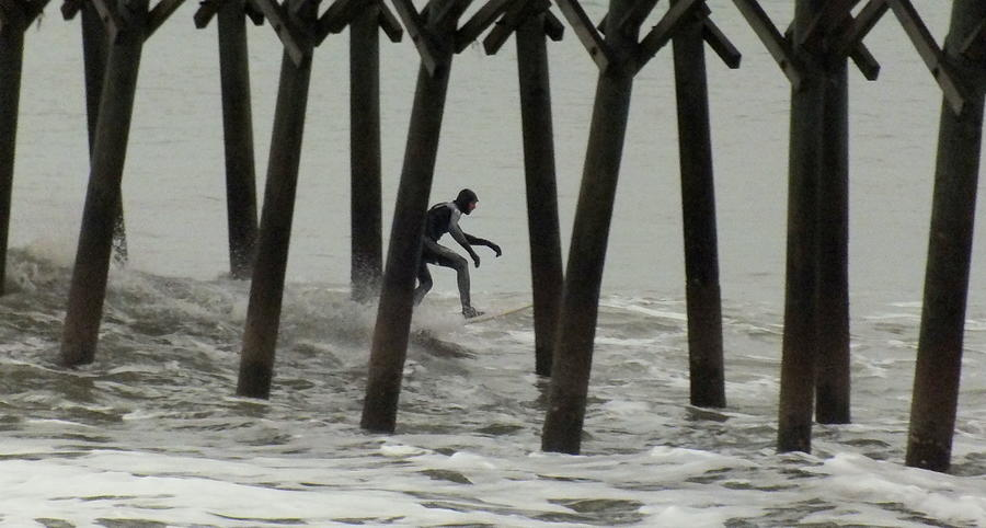 Surfing Photograph - Shooting The Pier by Karen Wiles