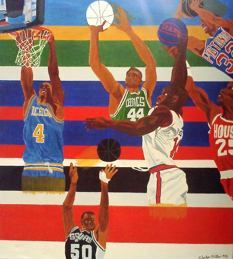 Basketball Painting - Shoots N Hoops by Leslye Miller