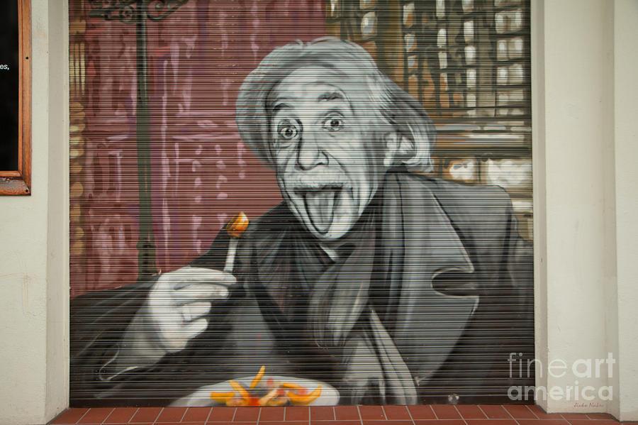 Chips Photograph - Shop Window Metal Blind Einstein by Jivko Nakev