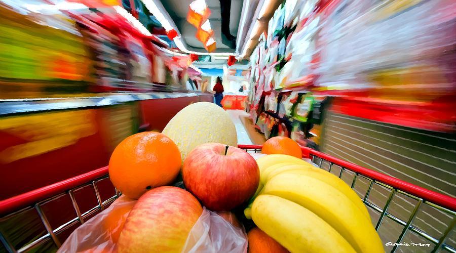 Apples Digital Art - Shopping 1 by Gabriel T Toro