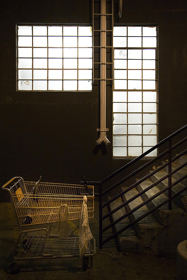 Architecture Photograph - Shopping Cart Stairs At Window by Peter Tellone