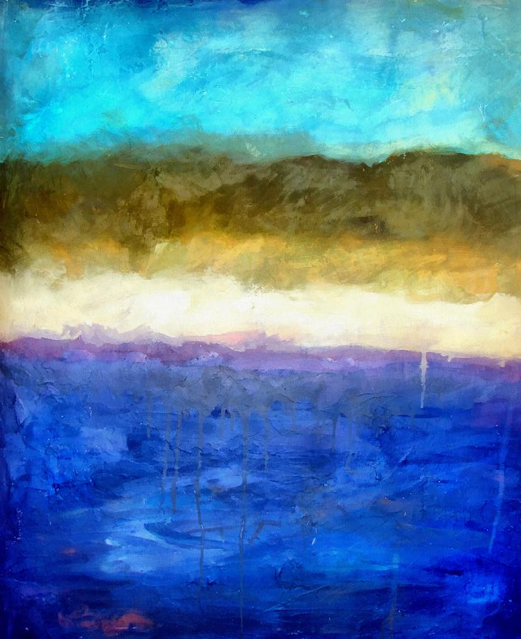 Shoreline Abstract Painting by Michelle Calkins