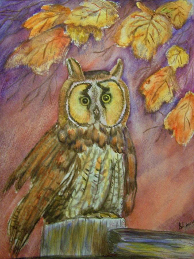 Owl Painting - Short Eared Owl by Belinda Lawson