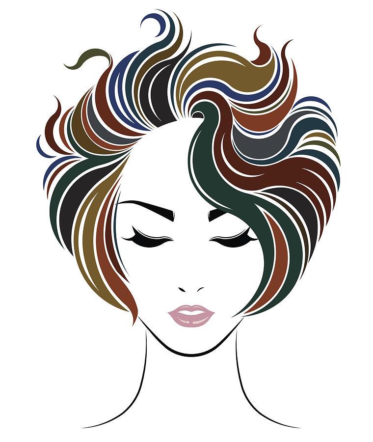 Short Hair Style Icon Logo Women Face By Bignoze