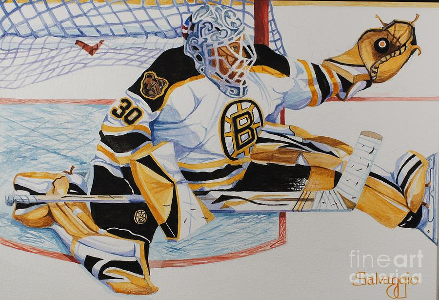 Sports Painting - Short Side Save by Alan Salvaggio