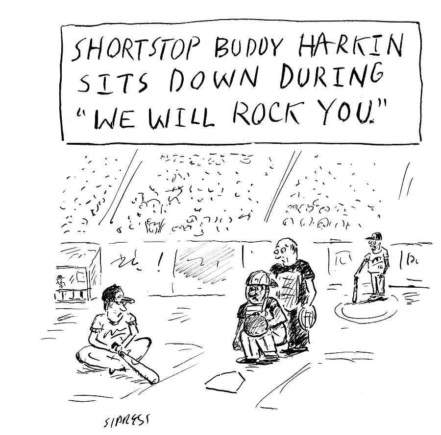 Cartoon Drawing - Shortstop Buddy Harkin Sits by David Sipress
