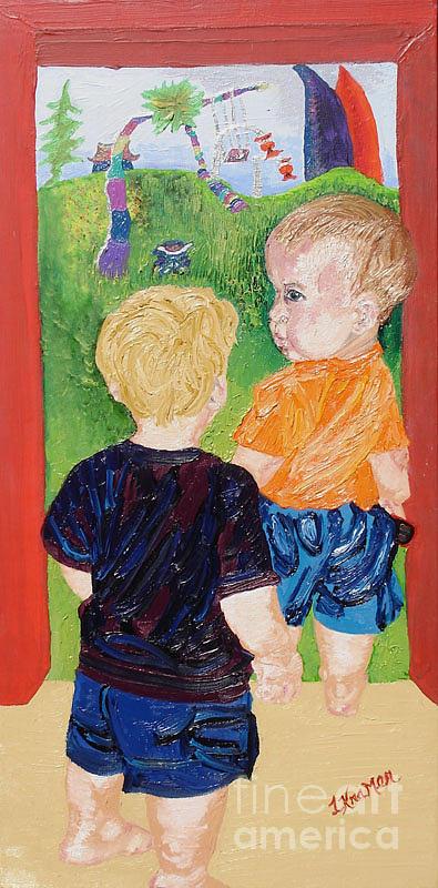Children Painting - Should We Go In by Lisa Kramer