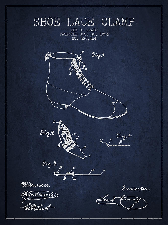Show Lace Clamp Patent From 1894 - Navy Blue Digital Art