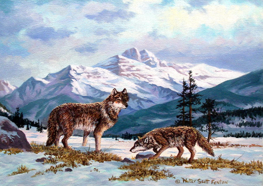 Wolves Painting - Show  Of Respect by W  Scott Fenton