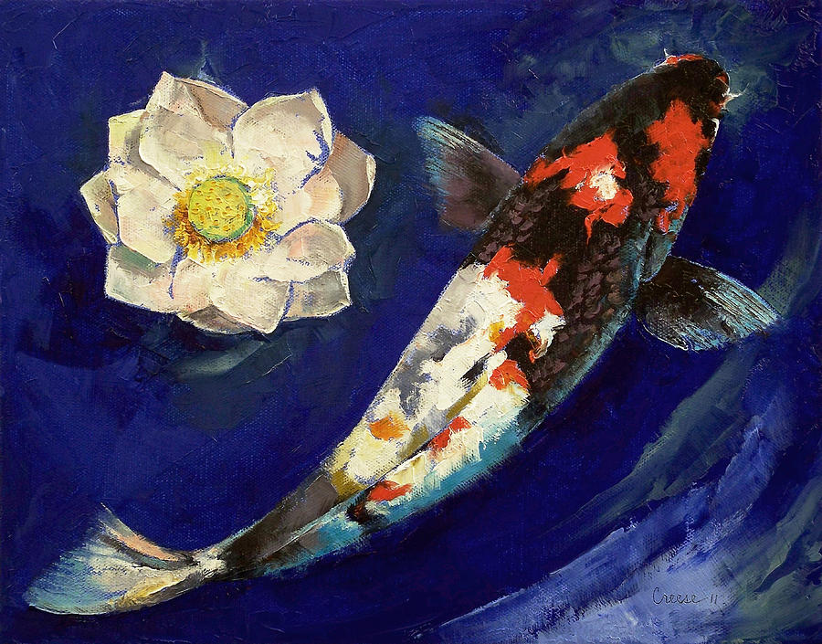 Showa Koi And Lotus Flower Painting By Michael Creese