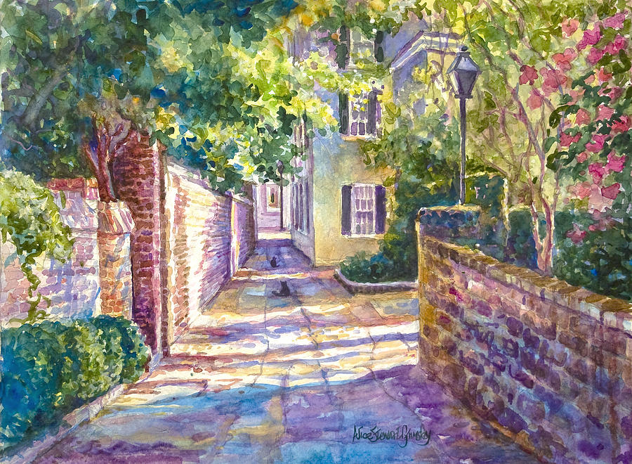 Charleston Painting - Showdown In Prices Alley by Alice Grimsley