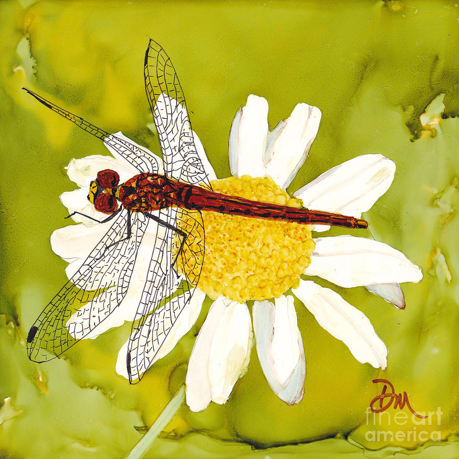 Dragonfly Painting - Showing Off by Diane Marcotte