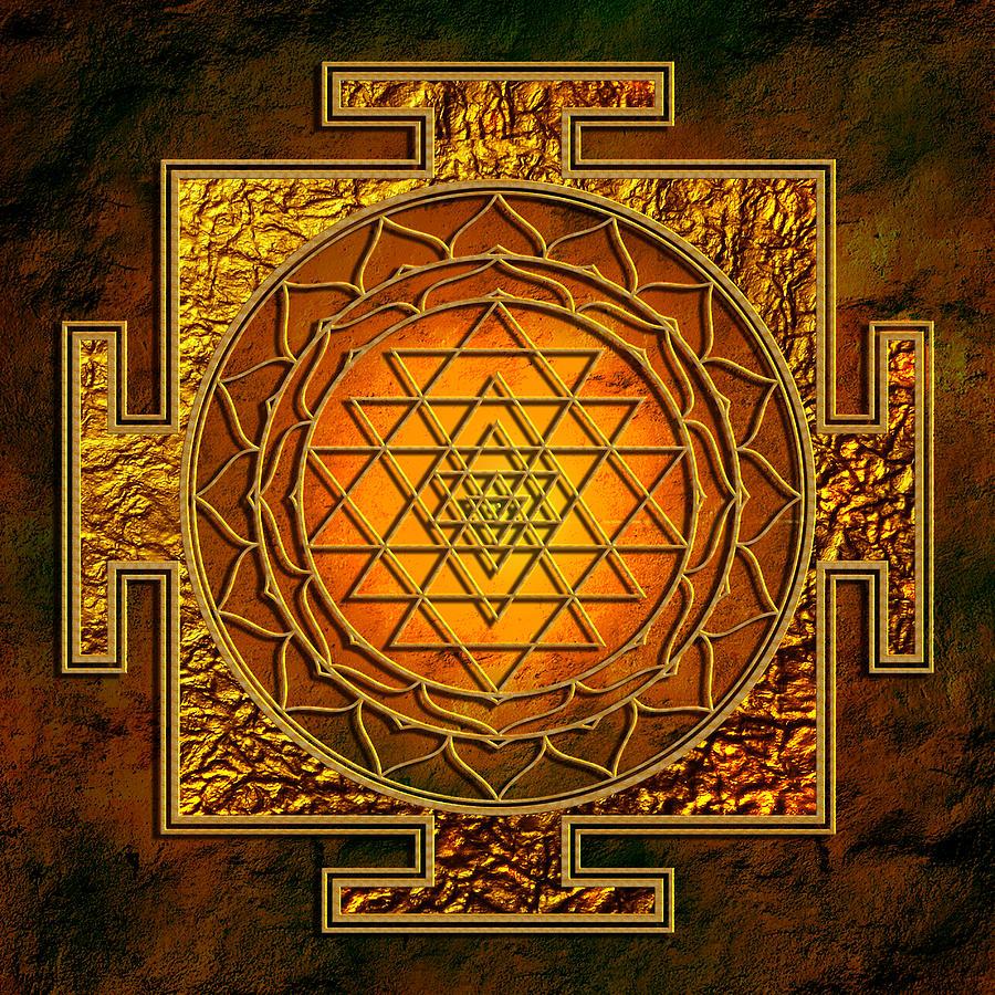 Mandala Mixed Media - Shri Yantra Gold Lakshmi by Lila Shravani