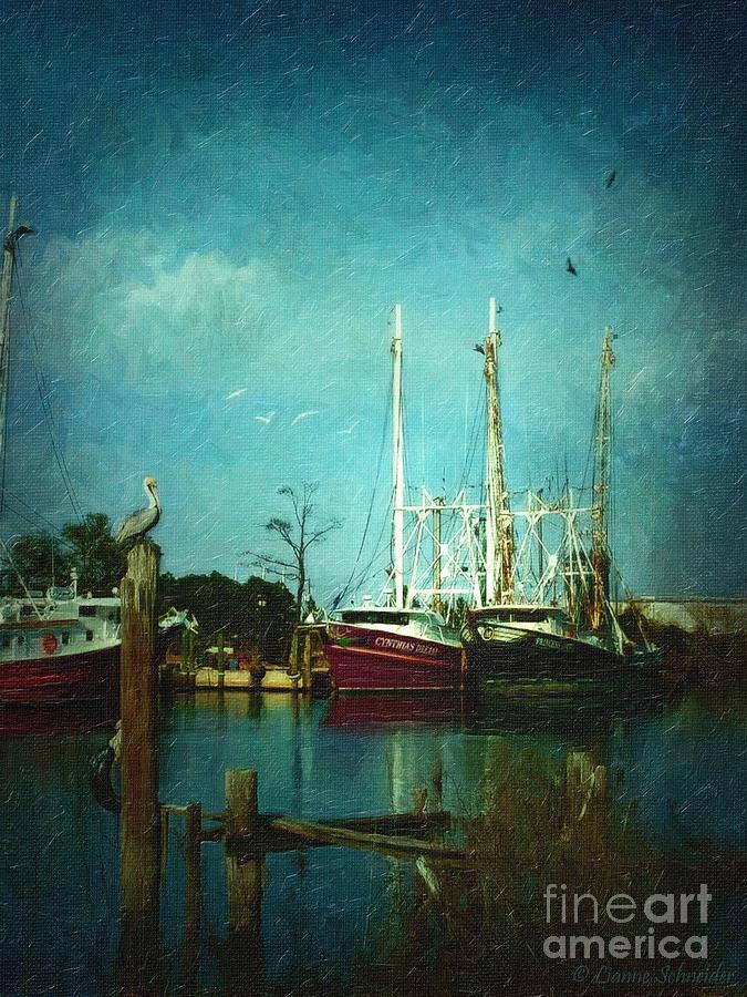 Shrimp Boat Digital Art - Shrimp Boats Is A Comin by Lianne Schneider