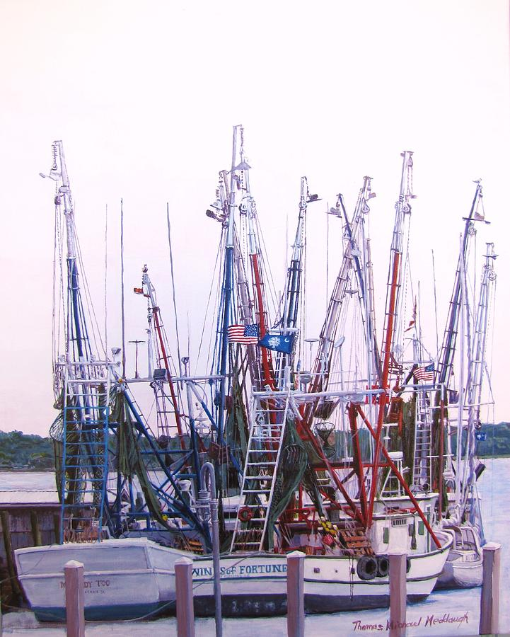Shem Creek Painting - Shrimpers On The Shem by Thomas Michael Meddaugh