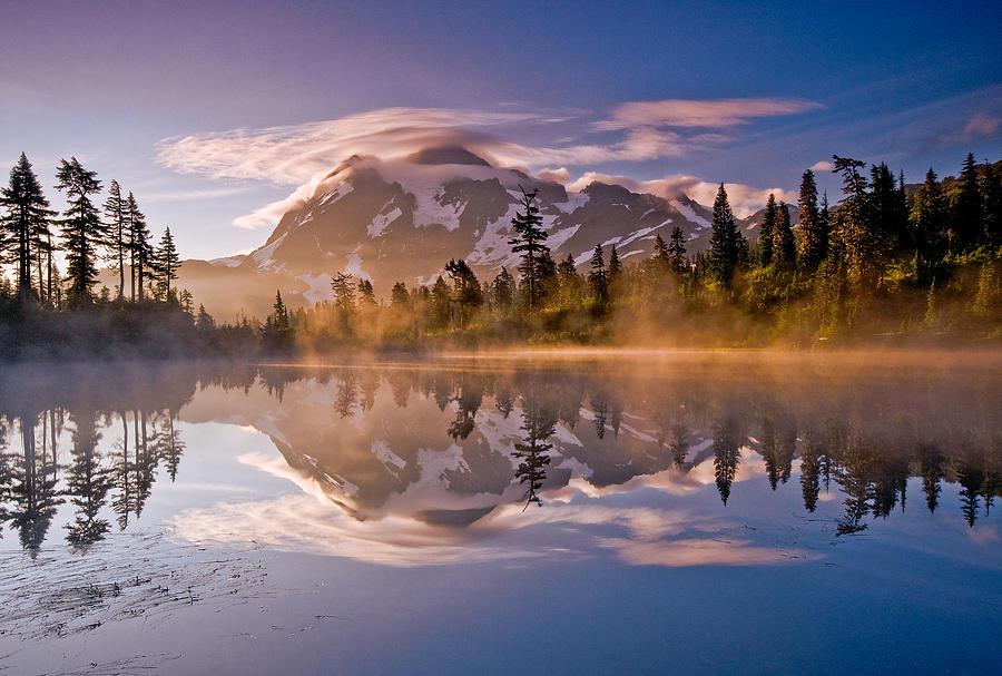 Mountain Photograph - Shuksan Sunrise by Darren  White