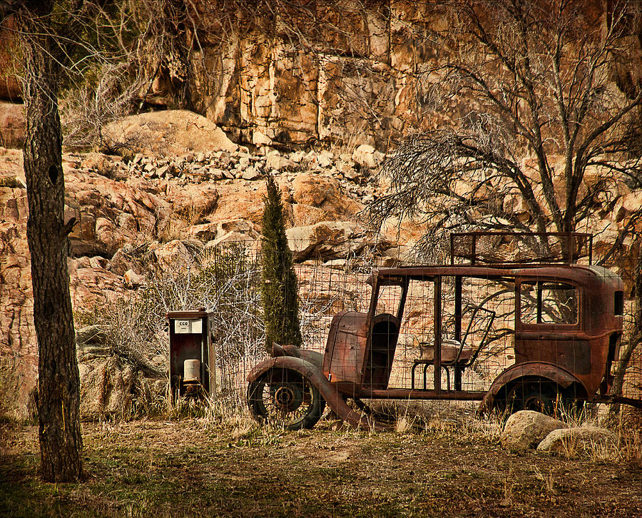 Rusted Vintage Vehicle Photograph - Shuttle Transport by Priscilla Burgers