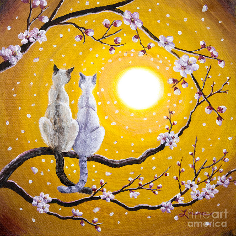 Zen Painting - Siamese Cats Nestled In Golden Sakura by Laura Iverson