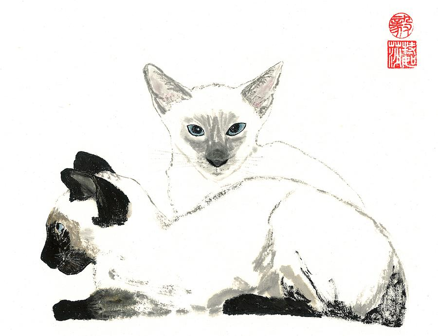 Kittens Painting - Siamese Cats by Terri Harris