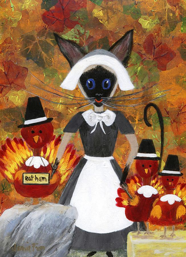 Siamese Painting - Siamese Queen Of Thanksgiving by Jamie Frier