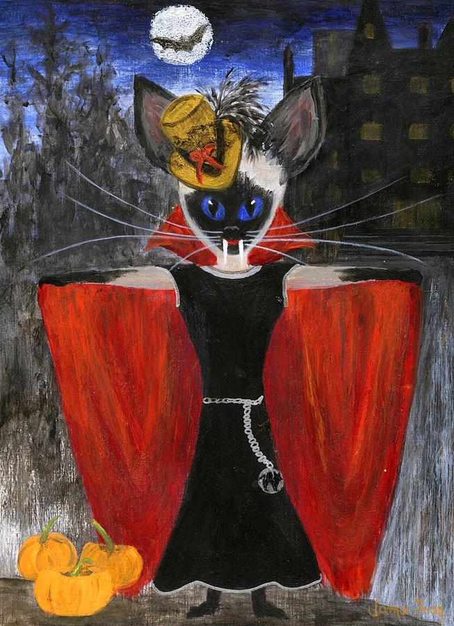 Halloween Painting - Siamese Queen Of Transylvania by Jamie Frier