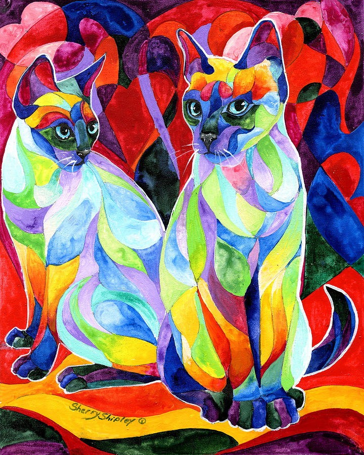 Cats Painting - Siamese Sweethearts by Sherry Shipley