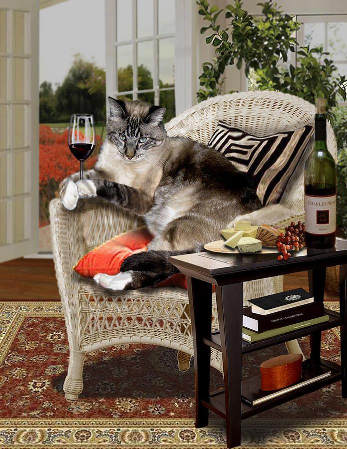 Funny Wine Bibbing Cat Painting