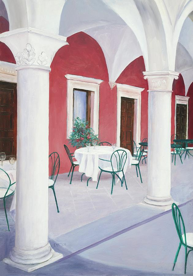 Sibenik Painting - Sibenik Cafe Croatia by Jan Matson