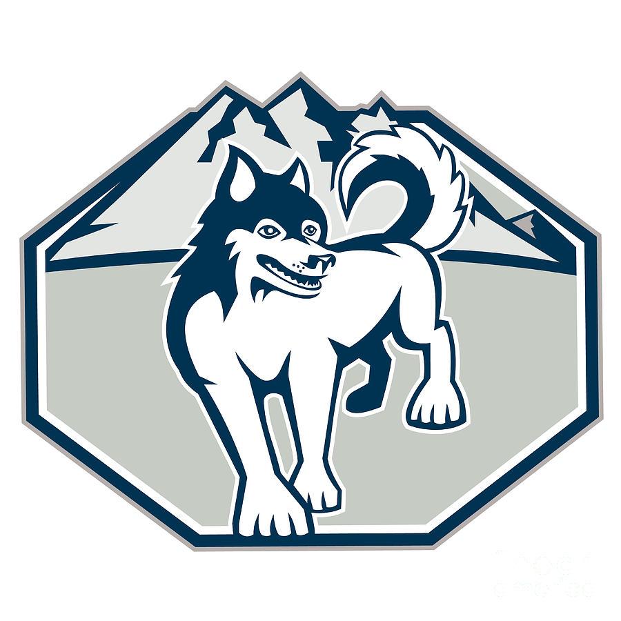 Siberian Husky Digital Art - Siberian Husky Dog Mountain Retro by Aloysius Patrimonio