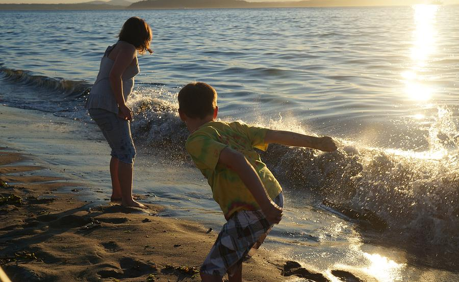 Surf Photograph - Sibling Surf Time by Andrea Osborn
