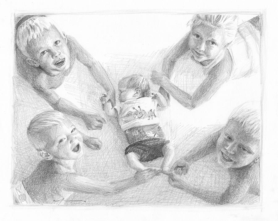 Siblings With New Baby Pencil Portrait Drawing by Mike Theuer