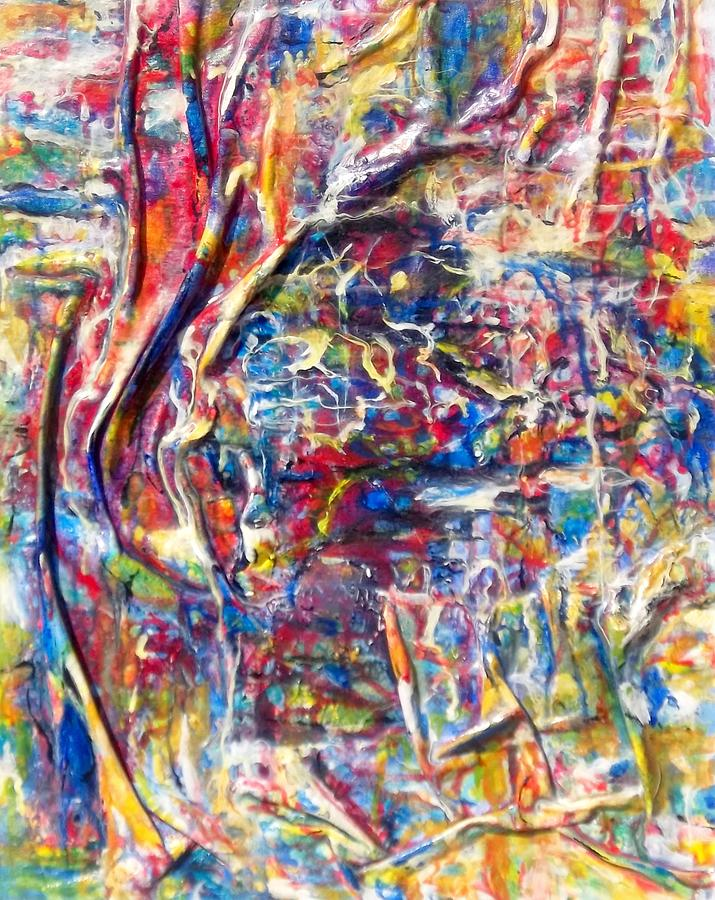 Acrylique Sur Toile Painting - Sibyllin  by Hatin Josee
