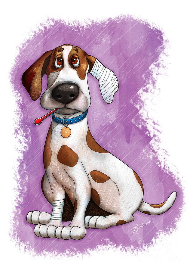 Dog Digital Art - Sick Puppy by Gary Bodnar