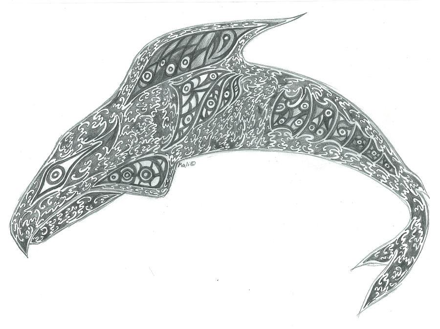 Pencil Drawing - Sid The Salmon by Kali Kardsbykali