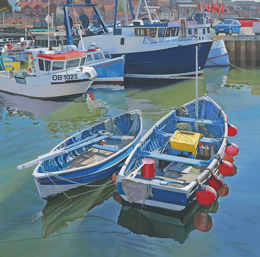 Oils Painting - Side By Side In Whitby Harbour by Graham Clark