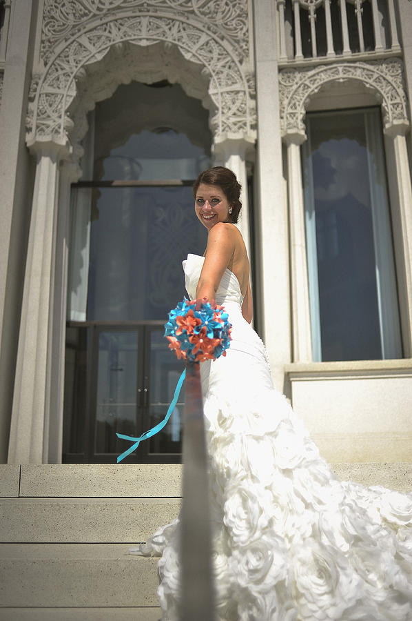 Bride Photograph - Side Of Bride At Bahai Temple by Mike Hope