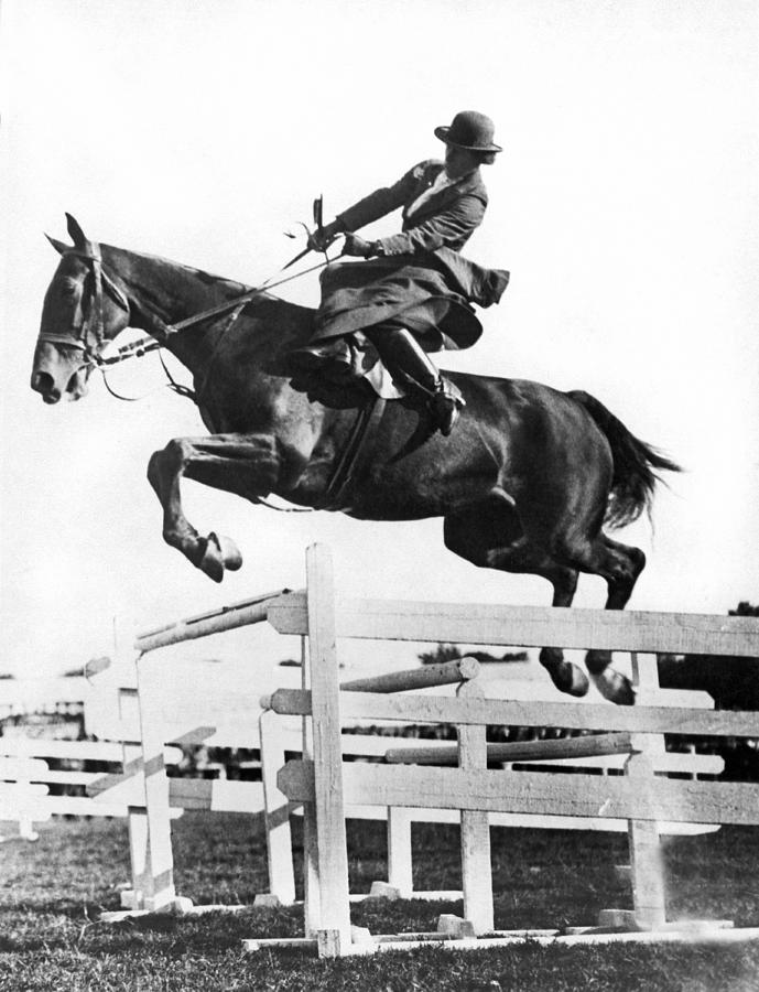 1923 Photograph - Sidesaddle Jumps At Horse Show by Underwood Archives