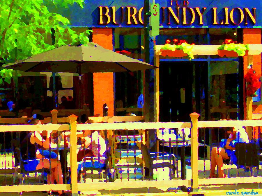 Burgundy Lion Painting - Sidewalk Cafe Lunch On The Terrace Burgundy Lion Pub St Henri Montreal Scene Carole Spandau by Carole Spandau